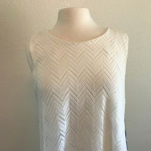 Vince Camuto Tops - Vince Camuto White Lace High/Low Tunic